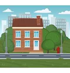 Traditional and modern house cityscape background vector