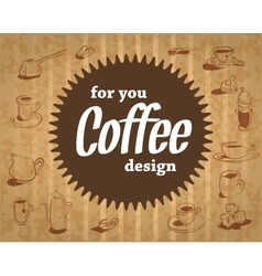 Coffee logo on the cardboard background in vintage vector