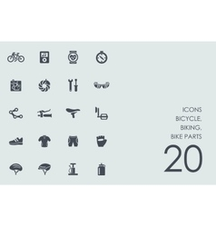 Set of bicycle biking bike parts icons vector image