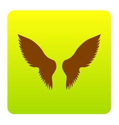wings sign   brown icon at vector image