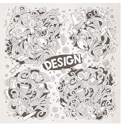 set of doodle design theme items vector image