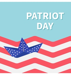Ocean flag boat patriot day vector