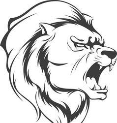Lion roaring silhouette vector