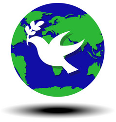 world peace symbol globe dove olive vector image