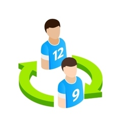 Replacement players in football isometric 3d icon vector