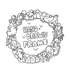 Hand drawn circle frame design vector