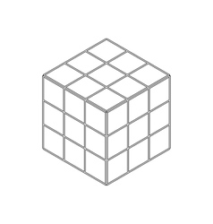 Cube toy puzzle icon isometric 3d style vector