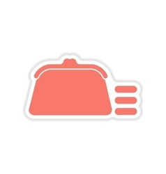 Paper sticker on white background coin purse vector