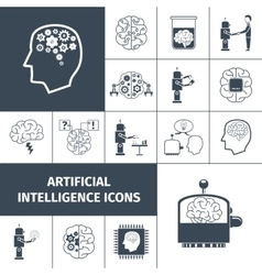 Artificial Intelligence Icons Black vector image