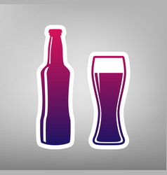 Beer bottle sign purple gradient icon on vector