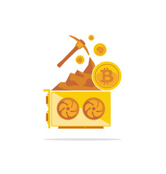 bitcoin mining concept with pickaxe coin and vector image