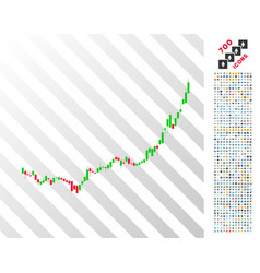 Candlestick graph growth acceleration flat icon vector