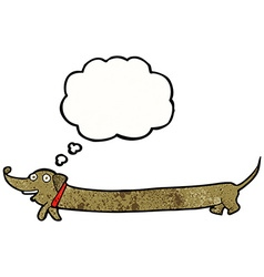 Cartoon dachshund with thought bubble vector