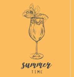 cocktail summer sketch with pineapple vector image vector image