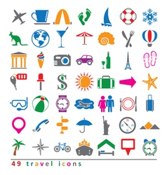 Colorful 49 travel icons set vector