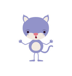 Colorful caricature of cute cat astonished vector