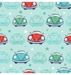 Colorful vintage cars seamless pattern vector