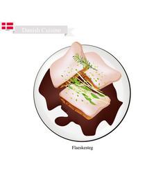 flaeskesteg or roasted pork the danish national d vector image vector image