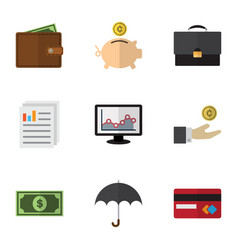 flat gain set of chart payment hand with coin vector image vector image