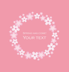 floral wreath of cherry blossom vector image vector image