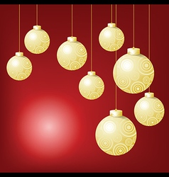 Gold ball hanging on red background in Christmas vector image vector image