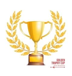 Golden trophy cup with laurel wreath award design vector