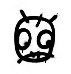 Graffiti worried emoji sprayed in black on white vector