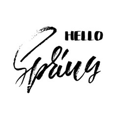 Handwritten lettering inscription hello spring vector