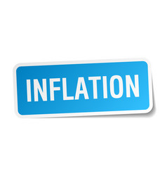 Inflation blue square sticker isolated on white vector