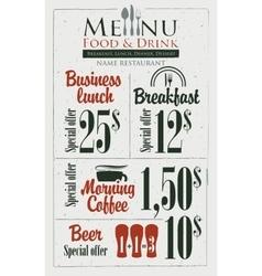 Menu for the restaurant vector