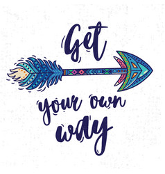 motivational card with tribal ethnic arrow vector image