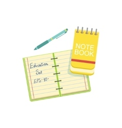 Notebook block note and pen vector