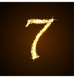 Number seven of gold glittering stars vector image vector image
