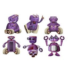 Purple robots in six designs vector