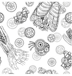 seamless pattern with demon hands chest cogs vector image vector image