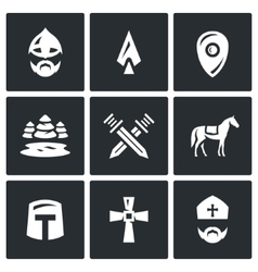 Set of Ice Battle Icons Warrior Spear vector image vector image