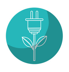 Sticker power cable plant with leaves vector