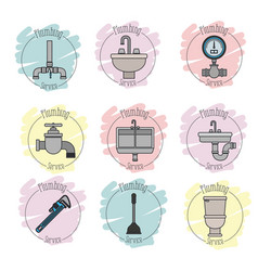 Sticker scene of icons set on white background vector