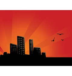 Sunset City Background vector image