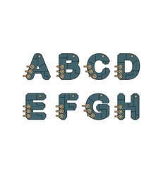 Technology font set vector