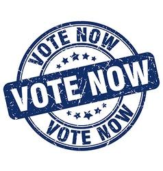 Vote now blue grunge round vintage rubber stamp vector