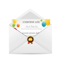White envelope with certificat vector