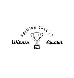 winner retro emblem winner cup vector image vector image