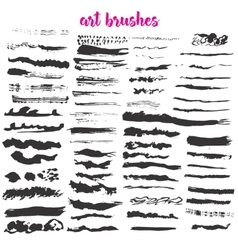 Big set of different grunge brush strokes vector