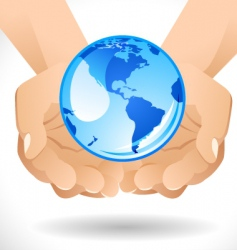 hands with globe vector image