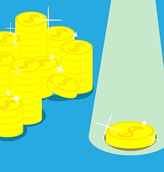 golden coins in Blue background vector image