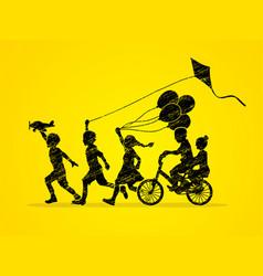 Group of children running friendship graphic vector