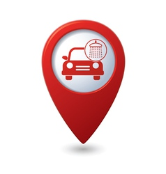 Car wash icon on red map pointer vector
