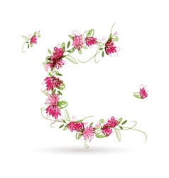 Floral letter c for your design vector