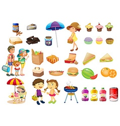 Set of things and foods for a picnic vector image